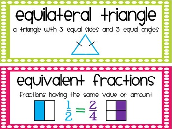 Math Vocabulary Cards for 3rd Grade {Common Core}