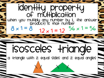 Common Core Math Vocab Cards for 3rd Grade {Animal Print}