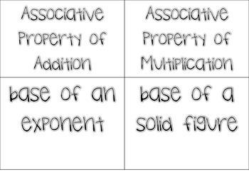 Common Core Math Vocabulary