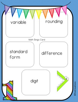 Common Core Math Vocabulary Activities and Differentiated Printables