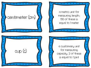 Common Core Math Vocabulary Card Activity for Math Centers