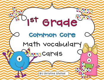 Common Core Math Vocabulary Cards {1st Grade}