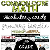 Common Core Math Vocabulary Cards: 3rd Grade GROWING BUNDLE