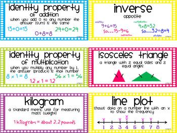 Common Core Math Vocabulary Cards 3rd Grade {MINI}