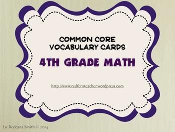 Common Core Math Vocabulary Cards - 4th Grade