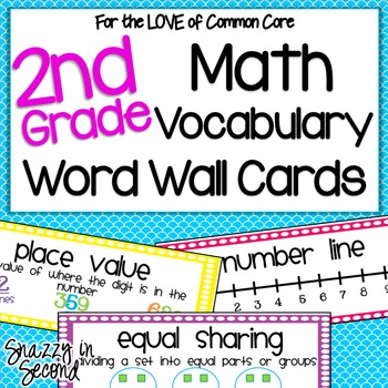Math Vocabulary Cards For 2nd Grade Common Core Tpt