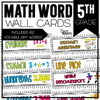 Common Core Math Vocabulary Cards for 5th Grade