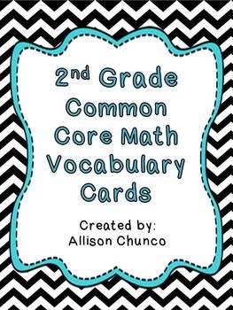 Common Core Math Vocabulary Cards_2nd Grade_Black & white chevron