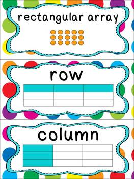 Common Core Math Vocabulary Cards_2nd Grade_Rainbow Dots