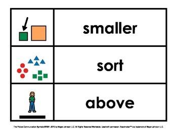 Common Core Math Vocabulary Cue Cards (Kindergarten)