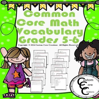 Common Core Math Vocabulary Grades 5-6