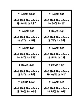 """Common Core Math Stations and Games - Proportions """"I Have Who Has"""""""