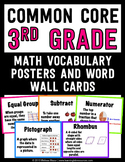 Common Core Math Vocabulary Posters and Word Wall Words - 3rd (Third) Grade