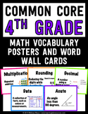 Common Core Math Vocabulary Posters and Word Wall Words - 4th (Fourth) Grade