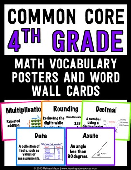 common core math vocabulary posters and word wall words