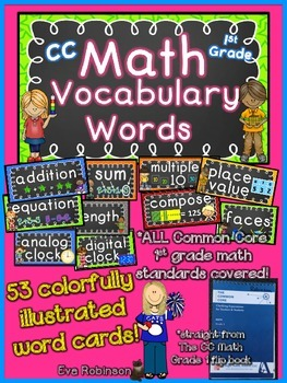 Common Core Math Vocabulary Word Cards- 1st Grade