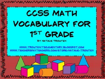 Common Core Math Vocabulary for 1st Grade
