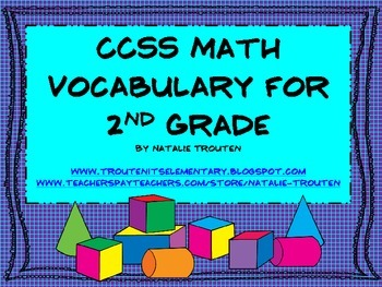 Common Core Math Vocabulary for 2nd Grade