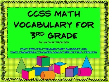 Common Core Math Vocabulary for 3rd Grade