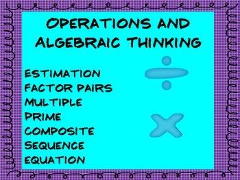 Common Core Math Vocabulary for 4th Grade
