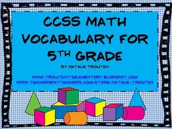 Common Core Math Vocabulary for 5th Grade