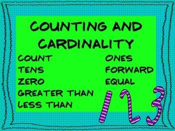 Common Core Math Vocabulary for Kindergarten