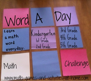 Common Core Math Vocabulary in Real Life: The 3-5 Word A Day Challenge