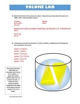 Common Core Math - Volume of Cones,Spheres and Cylinders. Water Lab