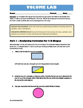 Common Core Math - Volume of Cones,Spheres and Cylinders.