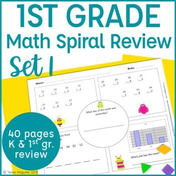 1st Grade Math Spiral Review Morning Work- Set 1