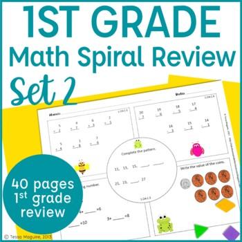 1st Grade Math Spiral Review | 1st Grade Math Warm Up | 1st Morning Work- Set 2
