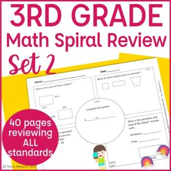 3rd Grade Spiral Review | 3rd Grade Math Warm Up | 3rd Grade Morning Work- Set 2