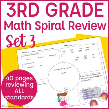 3rd Grade Spiral Review   3rd Grade Math Warm Up   3rd Grade Morning Work- Set 3