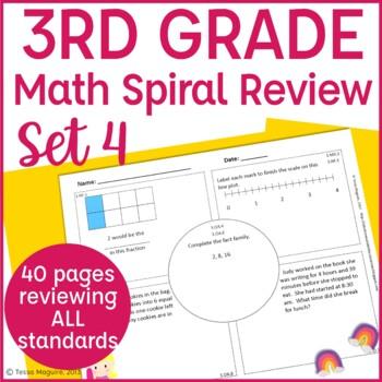 3rd Grade Spiral Review | 3rd Grade Math Warm Up | 3rd Grade Morning Work- Set 4