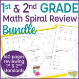 Math Spiral Review | Math Warm Up | Math Morning Work- 1st & 2nd Grade Bundle