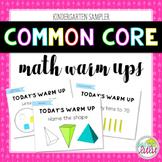Common Core Math Warm Ups FREE Sampler (K)