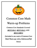 Common Core Math Warm-ups with a Halloween Theme