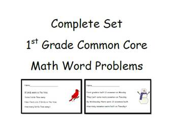 Common Core Math Word Problem Set - 1st Grade