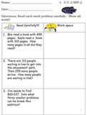 Common Core Math Word Problems Addition and Subtraction