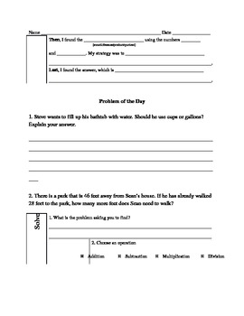 Common Core Math Word Problems - Doc Format