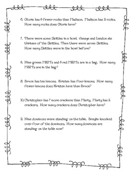 Common Core Math Word Problems with Unknowns