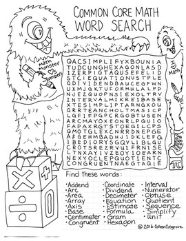 Common Core Math Word Search Activity
