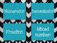 Common Core Math Word Wall (Black &Gray Background with Aqua Glitter)