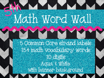 Common Core Math Word Wall (Black &Gray Background with Aqua Glitter)