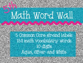 Common Core Math Word Wall (Silver and Aqua Glitter)