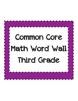Common Core Math Word Wall Vocabulary Third Grade