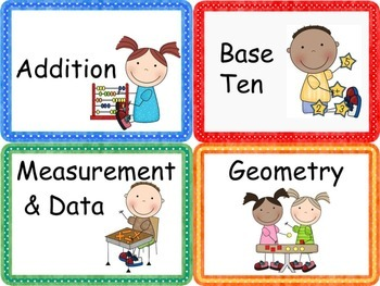 Common Core Math Work Station Labels for 1st Grade