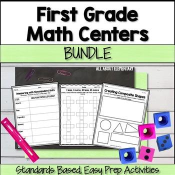 First Grade Math Work Stations Bundle CCSS
