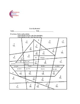 Addition, Place Value, Odd, Even, Color by Number Common Core Math Worksheets