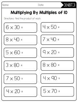 Common Core Math Worksheets - 3rd Grade by Create Teach Share | TpT